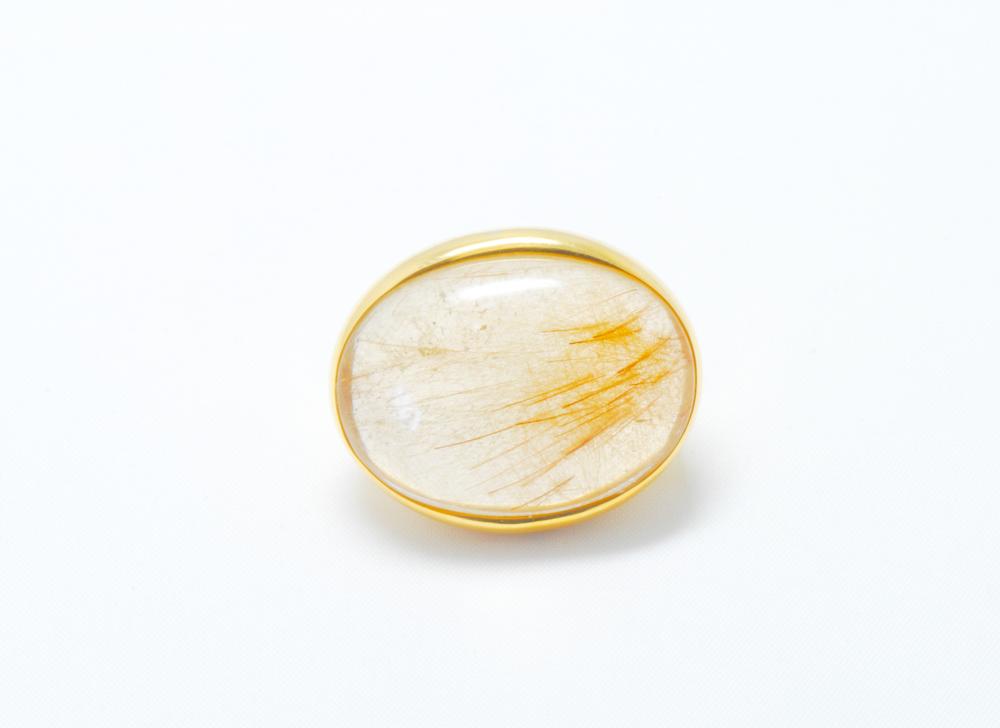 Sortija oro Cuarzo rutilo