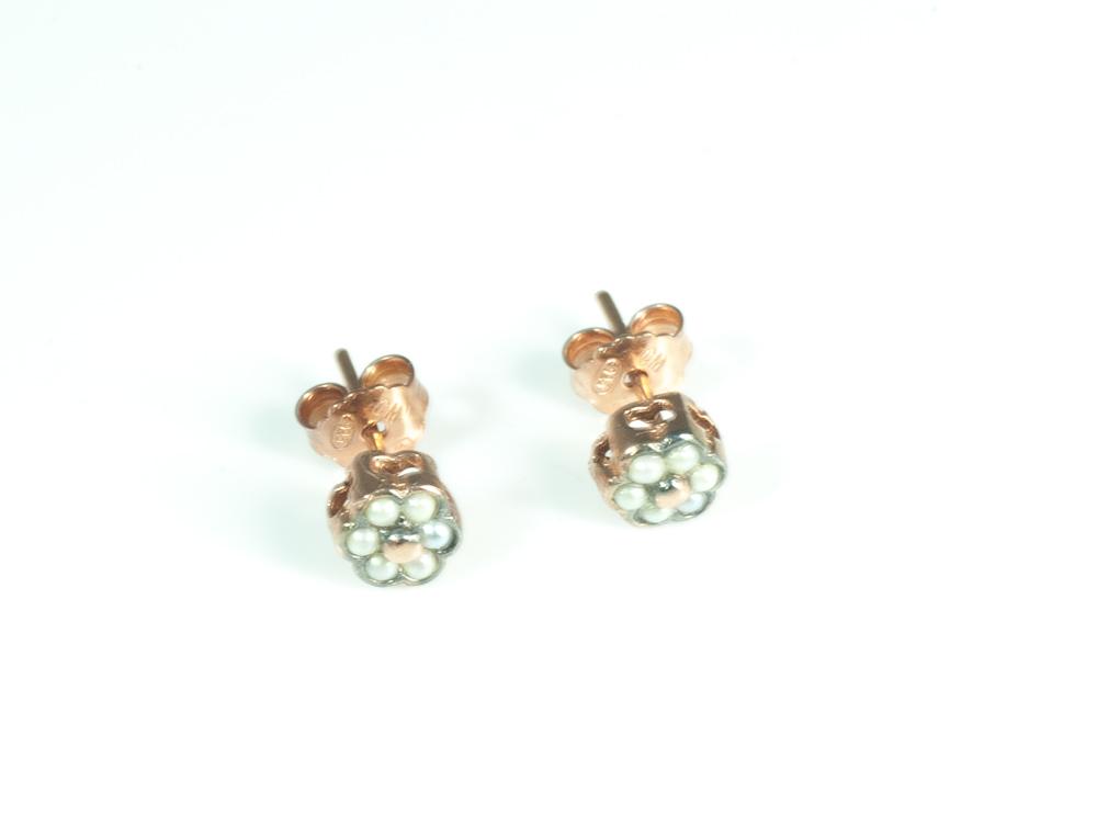 Pendientes flor perlas